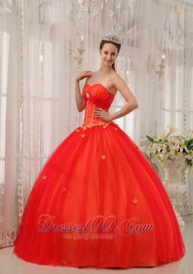Trendy Red Appliques Sweetheart Dress for Quinceanera