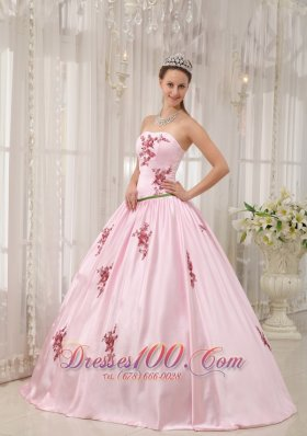 Pink Taffeta Quinceanera Dress Appliques Floor-length