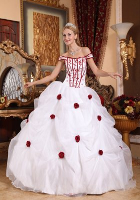 White Off The Shoulder Flowers Embroidery Sweet 16 Dress