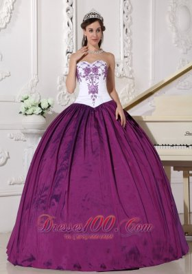 White Dark Purple Quinceanera Dress Embroidery Floor-length