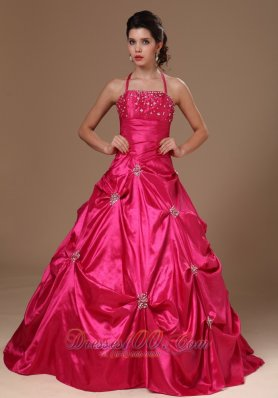 Hot Pink Pick-ups Halter A-line Military Ball Gowns
