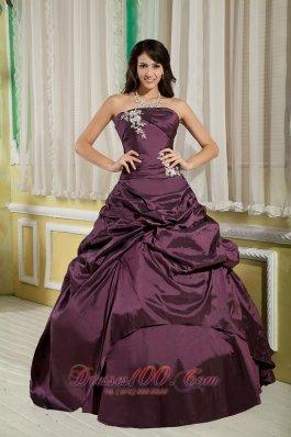 Dark Purple A-line Appliques Strapless Quinceanera Dress