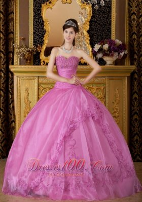 Pink Appliques Organza Sweetheart Ball Gown for Sweet 16