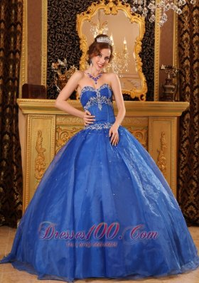 Blue Sweetheart Appliques Beading Ball Gown for Sweet 16