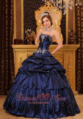 Navy Blue Quinceanera Dress Appliques Beading Taffeta