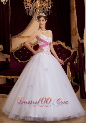 White A-line Sweetheart Tulle Floor-length Sweet 16 Dress