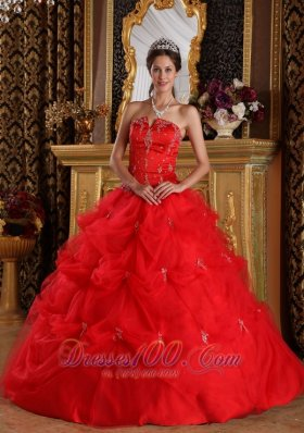 Red Pick-ups Appliques Floor-length Quinceanera Dress