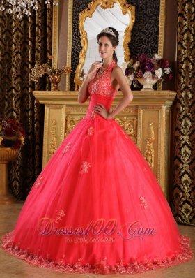 Coral Red Quinceanera Dress Halter Appliques Floor-length