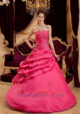 Coral Red Quinceanera Dress Appliques Floor-length