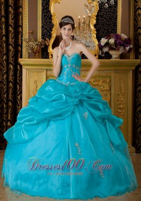 Teal Floor-length Quinceanera Dress Sweetheart Appliques