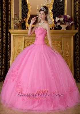 2013 Rose Pink Sweetheart Appliques Ball Gown for Sweet 16