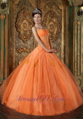 Orange Appliques Beading Sweetheart Quinceanera Dress