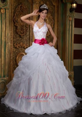 White Sweet 16 Dress Halter Pink Sash Beading Floor-length
