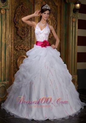White Sweet 16 Dress Halter Pink Sash Beading Floor-length