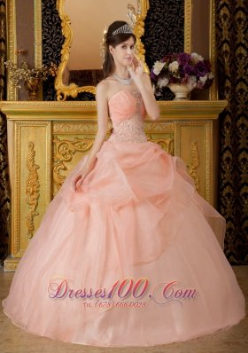 Baby Pink Beading Quinceanera Dress Strapless Floor-length