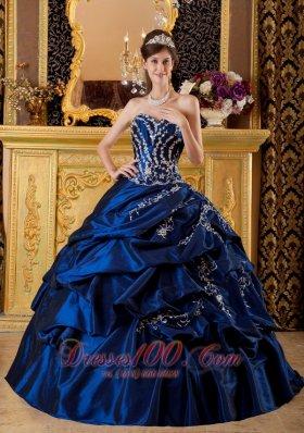 Navy Blue Sweetheart Appliques Floor-length Quinceanera Dress