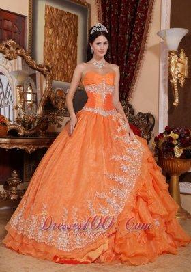 Orange Red Appliques Ruffles Sweetheart Quinceanera Dress