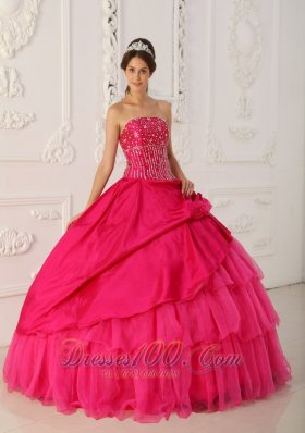 Hot Pink Organza and Taffeta Floor-length Quinceanera Dress