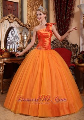 Orange Tulle One Shoulder Bow Ruch Quinceanera Dress Beaded
