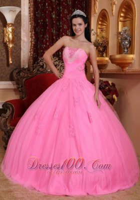 Rose Pink Beading Appliques Quinceanera Dress Strapless