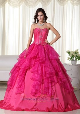 Hot Pink Sweetheart Organza Embroidery Quinceanera Dress