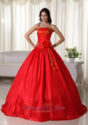 Under 200 Red Floor-length Ruched Quinceanera Dress