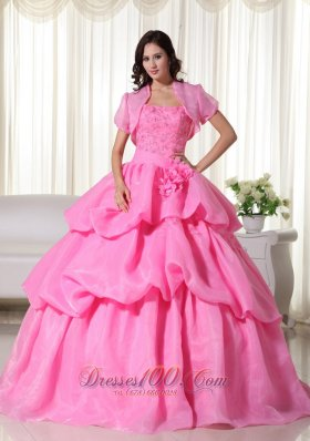 Rose Pink Strapless Beading Hand Flowers Quinceanera Dress