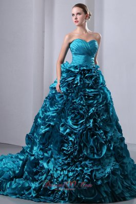 2013 Teal Ruch Hand Flowers Brush Train Sweet 16 Dress