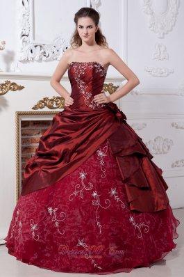 Wine Red Taffeta Organza Embroidery Quinceanera Dress