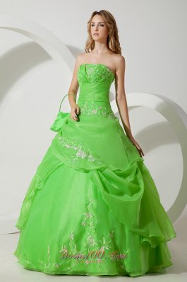 Spring Green Embroidery Floor-length Sweet 16 Dress