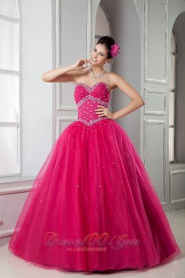 2013 Hot Pink Sweetheart Beading Dress For Quinceanera