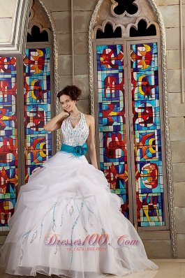 White Halter Bead Blue Sash Quinceanea Dress for Sweet 16