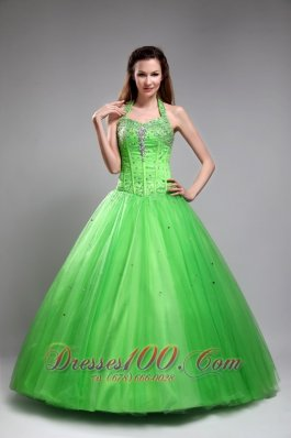 Spring Green Sweet 16 Dress Halter Beading Floor-length