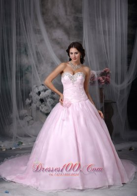 Pink Appliques Hand Flowers Chapel Train Quinceanea Dress