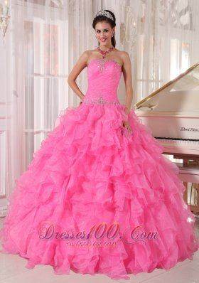 Rose Pink Quinceanera Dress Beading Strapless