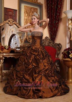 Brown Quinceanera Dress Beading A-line Strapless Taffeta