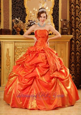 Orange Red Quinceanera Dress Under 200 Handle Flowers Strapless