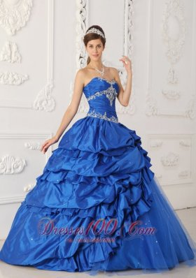 Blue A-Line Appliques Quinceanea Dress Beading Pick- Ups