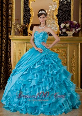 2013 Teal Appliques Beading Quinceanea Dress Sweetheart