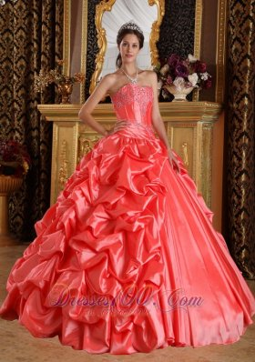Watermelon Quinceanera Dress Emboridery Beading Sweetheart