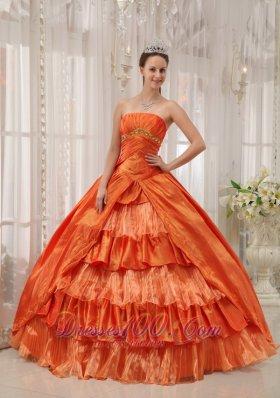 Orange Quinceanera Dress Strapless Beading Ruffles Floor-length