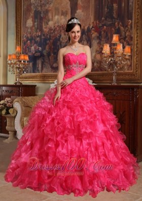 Red Sweetheart Floor-length Quinceanera Dress Under 200