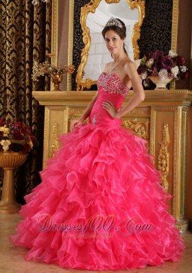 Hot Pink Quinceanera Dress Under 200 Beading Ruffles