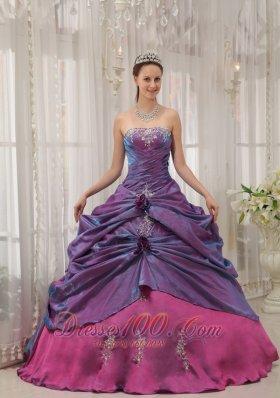Purple Fuchsia Sweet 16 Dress Appliques Beading Strapless
