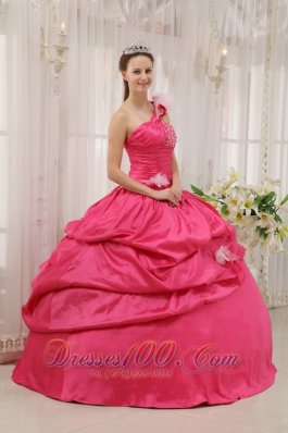 One Shoulder Coral Red Quinceanera Dress Beading Pick-ups
