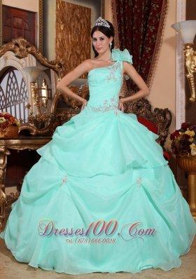 One Shoulder Appliques Bead Quinceanera Dress