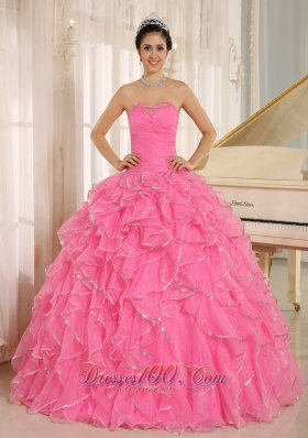 2013 Ruffles Beaded Rose Pink Quinceanera Dress Ruffles