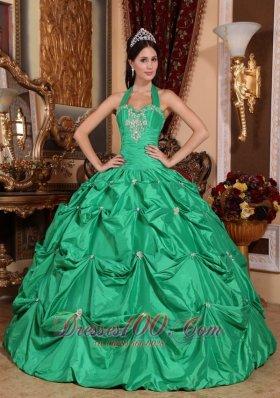 Halter Apple Green Quinceanera Dress Appliques Pick-ups