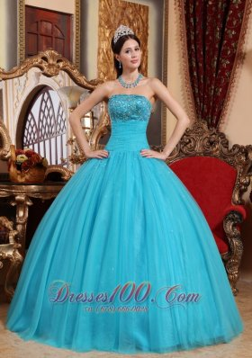 Puffy Teal Tulle Quinceanera Dress Embroidery Bead