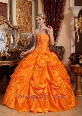 Orange Red Quinceanera Dress Beading Pick-ups